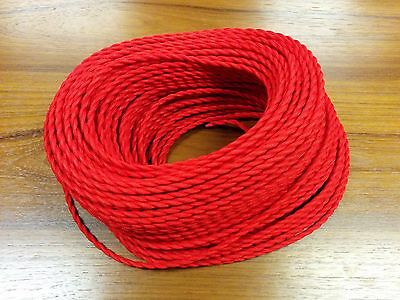 Vintage 2-Wire Twisted Cloth Covered Wire Antique Pendant Lamp Fan Cord Red