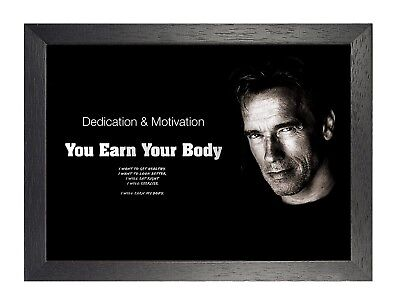 Arnold Schwarzenegger 5 Actor Motivation Sport Quote Poster Black White Body Gym