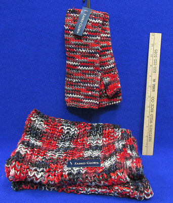 New Faded Glory Fingerless Gloves Mittens & Infiniti Scarf  Knit  Red Multi 2 Pc