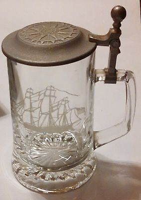 Salem Ship Grand Turk 1786 - Old Spice Glass Beer Stein Pewter Lid W. Germany