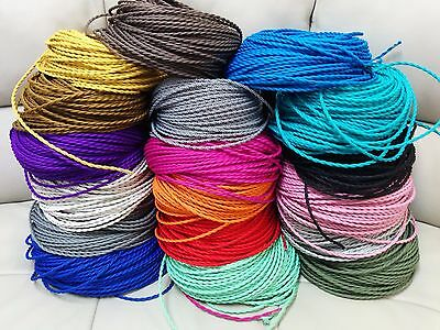 15 ft Simple Vintage 2-Wire Twisted Cloth Covered Wire Antique Pendant Lamp Cord