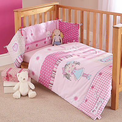 New Clair De Lune My Dolly Pink Cot / Cot Bed 2 Piece Quilt And Bumper Set