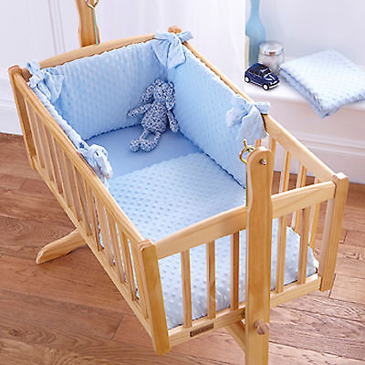 New Clair De Lune Dimple Blue 2 Piece Crib Quilt And Bumper Bedding Set