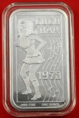 "1973 GO GO BAR 1oz 999 fine silver art bar "" A Ceeco bar """