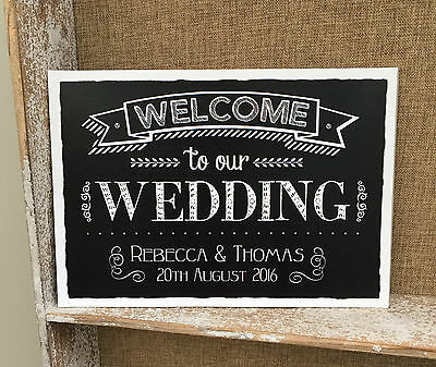 Personalised Welcome To Our Wedding Chalkboard Style Sign/print Decoration Chic