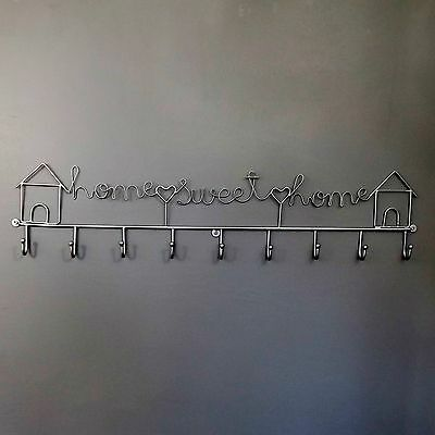 - HOME SWEET HOME- Wire Silver Grey 9 hook Coat & Key Rack ,hall,kitchen 68cm