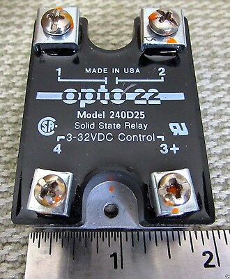 Opto 22 Solid State Relay SSR 240D25 Panel Mount 25A Load 280VAC 3-32VDC Control