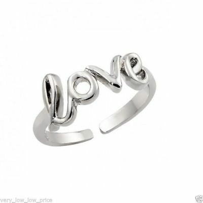 Adjustable Love Open Toe Ring, Toe Foot Jewelry, Silver Plated