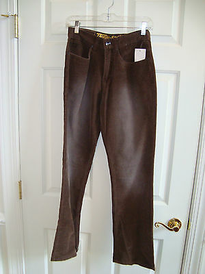 Ocean & Earth Brown Corduroy 4-Pocket Front Zip Pants Sz 28 Small