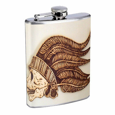 Skull Flask D52 8oz Stainless Steel Scary Horror Death Frightening