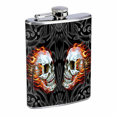 Skull Flask D54 8oz Stainless Steel Scary Horror Death Frightening