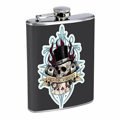 Skull Flask D61 8oz Stainless Steel Scary Horror Death Frightening