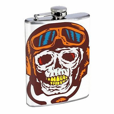 Skull Flask D66 8oz Stainless Steel Scary Horror Death Frightening