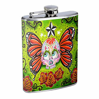 Skull Flask D70 8oz Stainless Steel Scary Horror Death Frightening