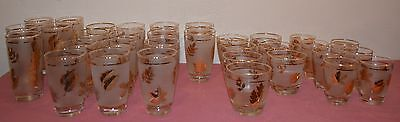 33 Pieces Libbey Frosted Golden Foliage Gold Leaf Glasses/Tumblers Juice