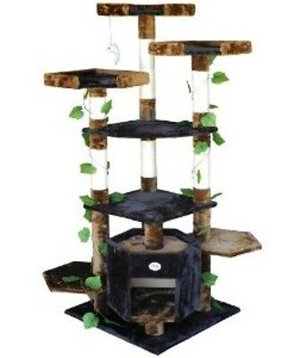 "Go Pet Club Cat Condo Climber Furniture, 67"", Brown/Black F2091 NEW"