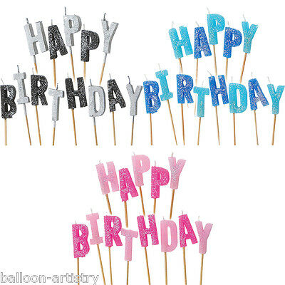 Happy Birthday Pink Blue Black Glitz Party Glitter Moulded Cake Candle Candles