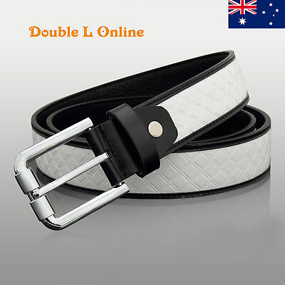 New Quality Genuine Leather Mens Business Dress Belts Black/White/Tan/Brown