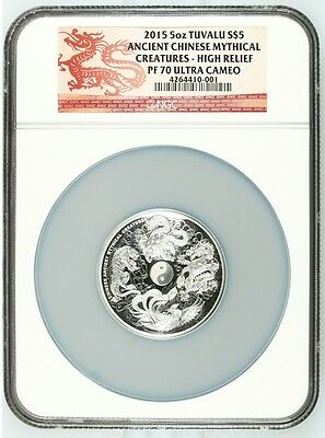 2015 Australia Tuvalu Mythical Creatures 5oz Dragon Silver Coin NGC PF70 UC