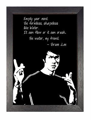Bruce Lee Bw Art Quote Motivation Poster Hong Kong American Actor Photo