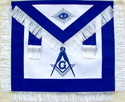 Masonic Master Mason Apron With White Fringe Hand Embroidered (Ma-423-V)