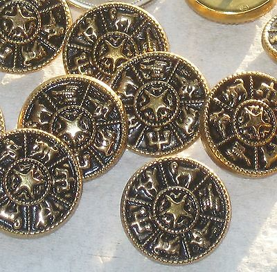 """ZODIAC Set 12 Vintage New METAL Astrology Picture buttons 3/4"""""""