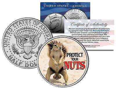 SQUIRREL POKER COIN Guard Card Cover PROTECT NUTS Colorized JFK Half Dollar Coin