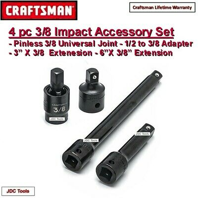 "Craftsman 3 pc 3/8"" Drive Universal Swivel Joint Set w 2 Impact Extension Bars"
