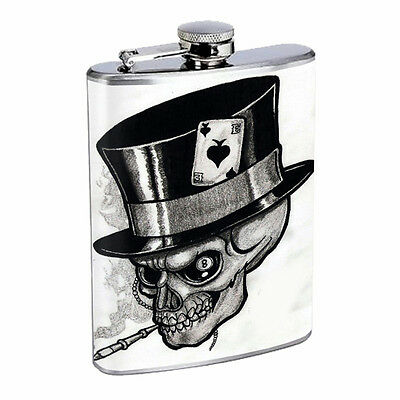 Skull Flask D83 8oz Stainless Steel Scary Horror Death Frightening
