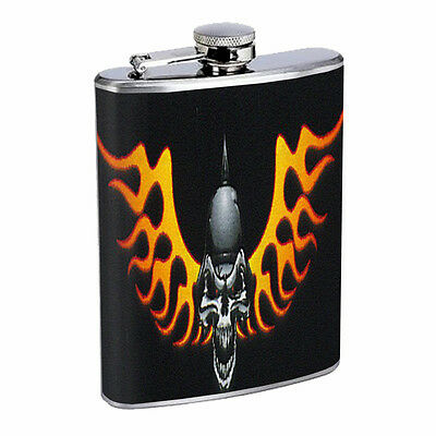 Skull Flask D85 8oz Stainless Steel Scary Horror Death Frightening