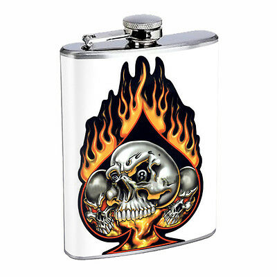 Skull Flask D86 8oz Stainless Steel Scary Horror Death Frightening