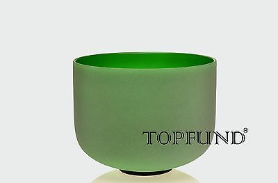 """Green F Heart Chakra Frosted Quartz Crystal Singing Bowl 12""""+Mallet+O-ring"""