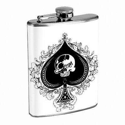 Skull Flask D102 8oz Stainless Steel Scary Horror Death Frightening