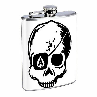 Skull Flask D105 8oz Stainless Steel Scary Horror Death Frightening