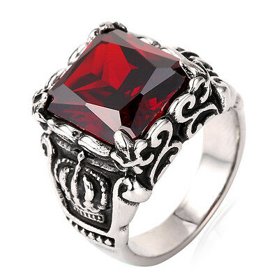 Punk Men's Band Ring Stainless Steel Red Crystal Gothic Biker Jewelry Size 7-13