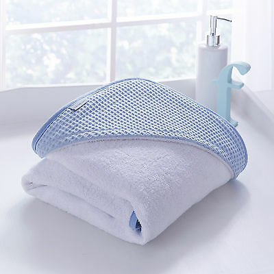 New Clair De Lune Waffle Blue Baby Boys Luxury Soft Hooded Bath Time Towel