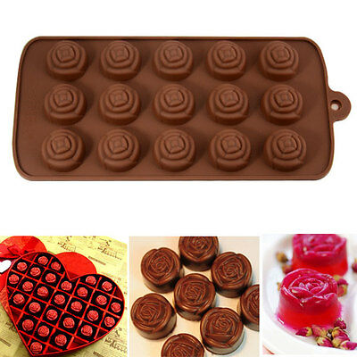 15 Cavitives Rose Flowers Cake Chocolate Soap Muffin Jelly Ice Silicone Mold DIY