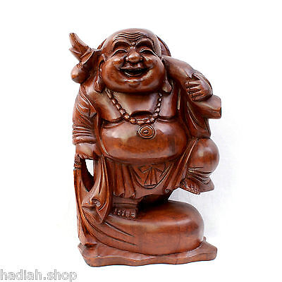 Large 40cm Hand Carved Sustainable Wood Happy Laughing Chinese Buddha Statue