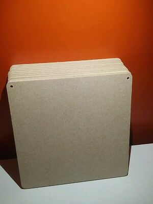 6 x Wooden Mdf Square Plaques 4mm thick 10cm square with 2 Holes