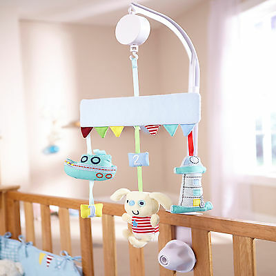 New Clair De Lune Ahoy Musical Mobile Wind Up Cot / Cot Bed Baby Boys Mobile
