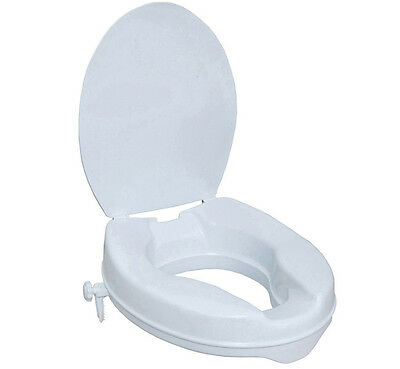 """Raised Toilet Seat With Lid - Adds 100mm (4"""") Height To Existing Toilet"""
