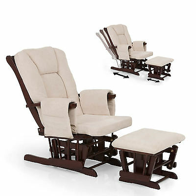 New Hauck Walnut / Beige Deluxe Reclining Glider Nursing Feeding Chair & Stool