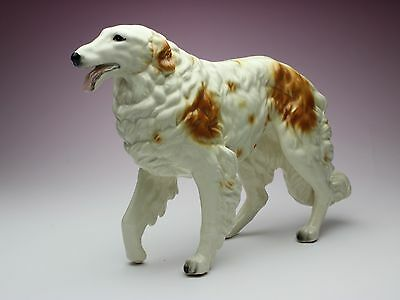 Brown and White Borzoi Porcelain Figurine Walking Tiptoe Looking Straight Ahead