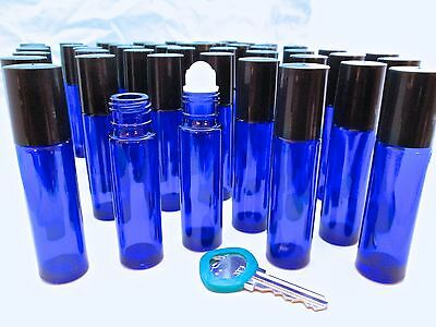 50 UV-Protection Cobalt Glass roll-on Bottle fragrance perfume oil AROMATHERAPY!