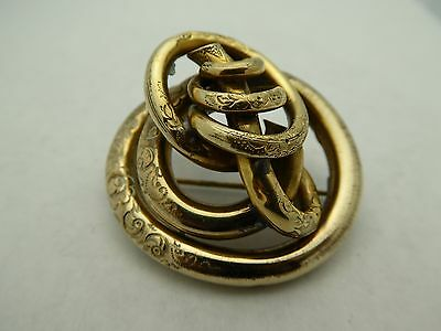 Antique Victorian 6K Rolled Gold Over Brass Engraved 3D Lovers Knot Pin Brooch