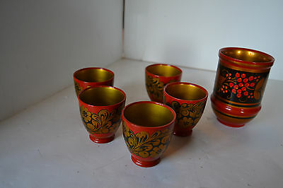 Vintage Russian USSR Hand Painted Wooden Laquered Pitcher Glasses Cup Lot