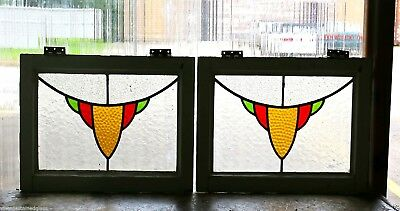 Pair of Antique Stained Glass Windows Three Colors                        (2887)