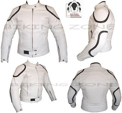 White Horizon Mens Ce Armour Customised Motorbike / Motorcycle Leather Jacket