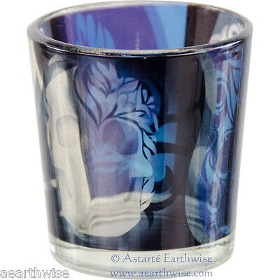 SKULL PRINTED GLASS VOTIVE HOLDER Wicca Pagan Witch Goth Occult Spell