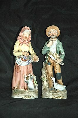 "Homco 8"" Porcelain Figurines of Old Man and Old Woman # 1417"